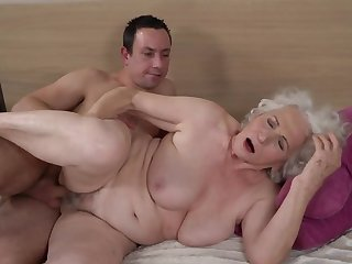 Grey-haired female gets say no to hairy cunt fucked off out of one's mind younger boy