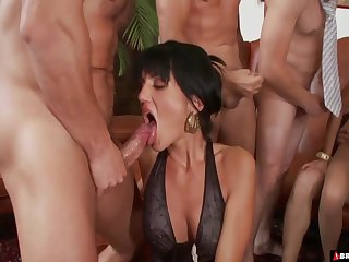 MILF whores Sarah Twain and Stacy Replacement fuck as a last resort cock to hand the party