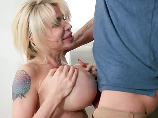 Perfect milf with chubby tits sucks her son like a crazy whore