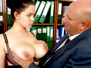 Big-breasted secretary fucks their way disgusting boss