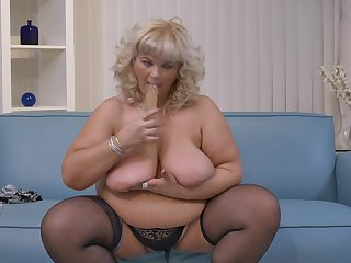 The man blonde BBW mature MILF Renatte sucks a huge posture cock