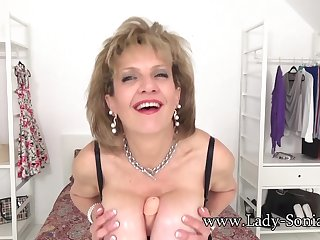 JOI from Lady Sonia to the fullest she tit fucks a dildo
